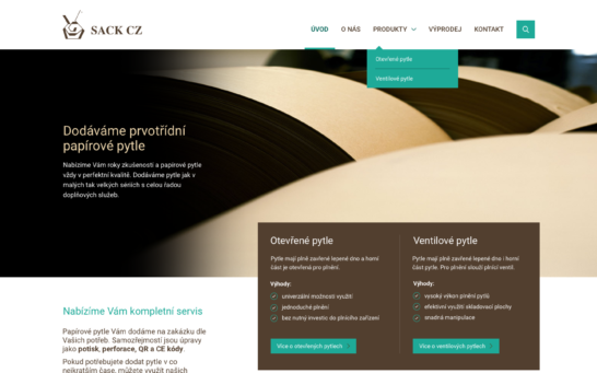 Hlavní strana webových stránek SACK s.r.o.