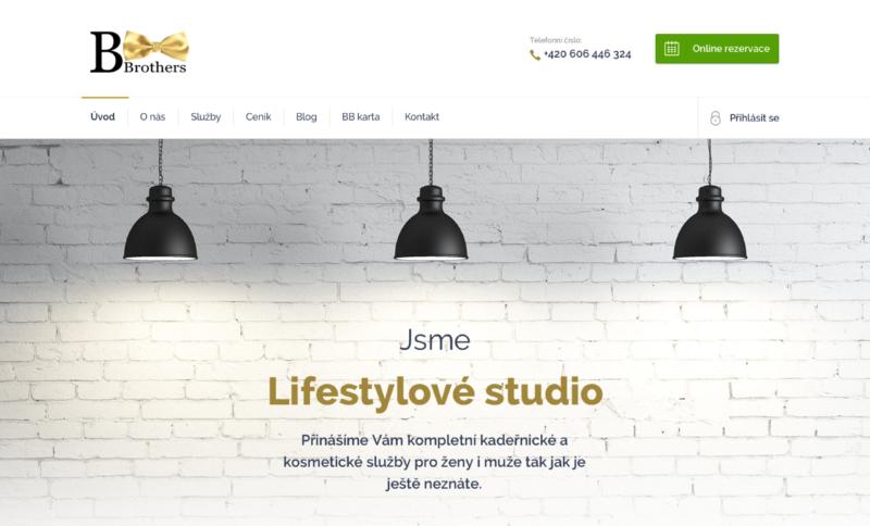 Hlavní strana webových stránek kadeřnictví a holičství BBrothers v Opavě