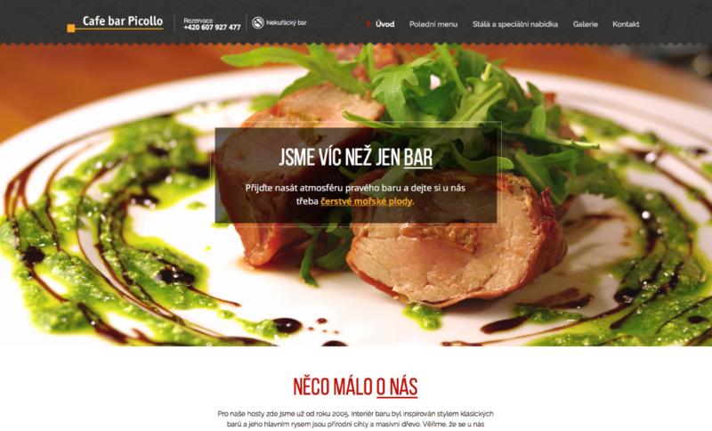 Jednostránková webová prezentace Cafe bar Picollo v Opavě