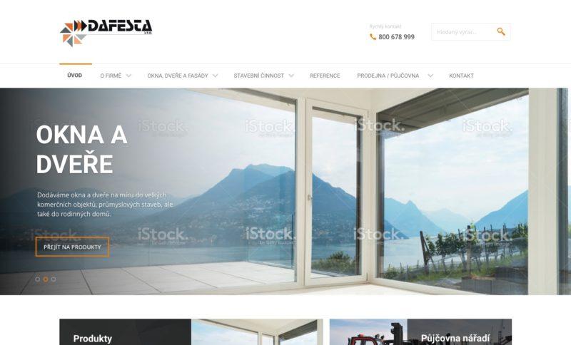 Hlavní strana www stránek společnosti Dafesta s.r.o.