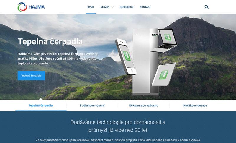 Hlavní strana webové prezentace společnosti Hajma s.r.o.
