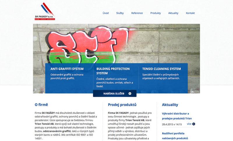 Hlavní strana webových stránek SK Fasady s.r.o.