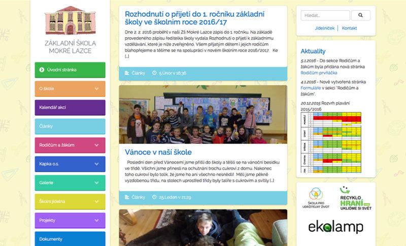 Hlavní strana webových stránek ZŠ Mokré Lazce