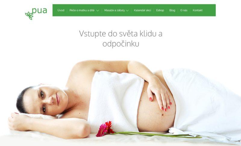 Ukázka hlavní strany webových stránek Pua centrum s.r.o.